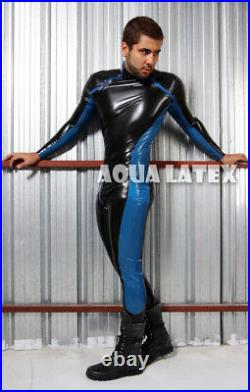 Wonder Suit Best Man Gift Rubber Latex Catsuit Sexy Bodysuit Front Diagonal Zip