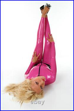 XXXL 100% Latex Rubber DEEP PINK Catsuit Second Skin Top Quality Body suit HOT